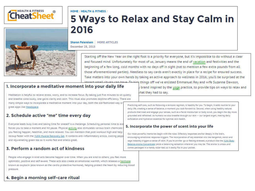 Health and Fitness Cheatsheet Ways to Relax Article