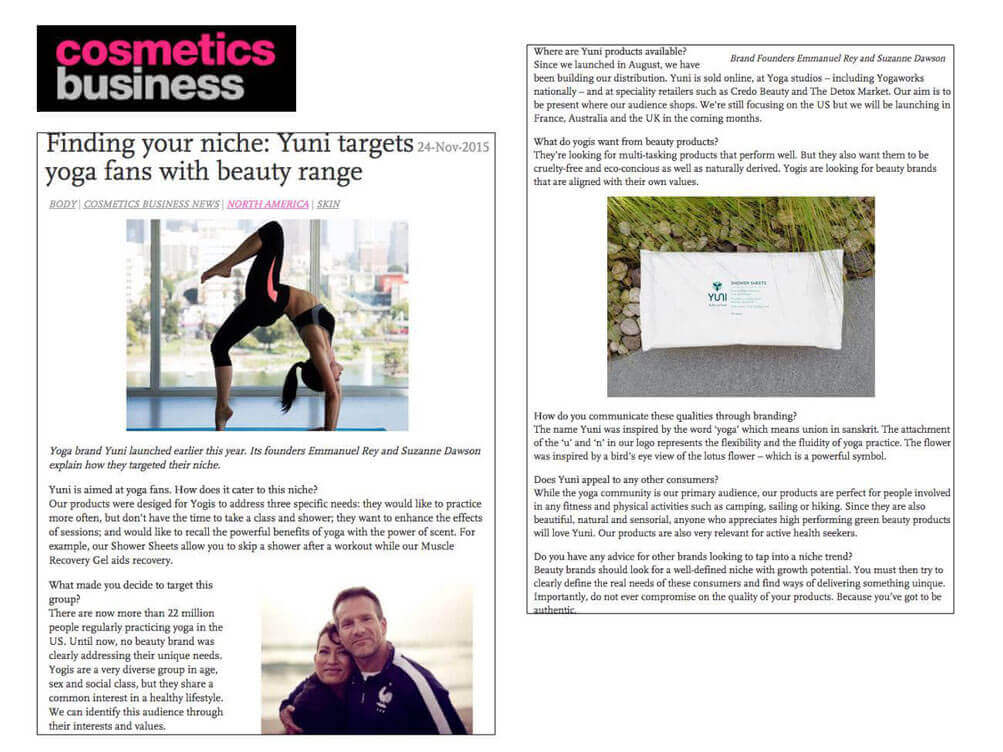 Cosmetics Business yoga beauty article