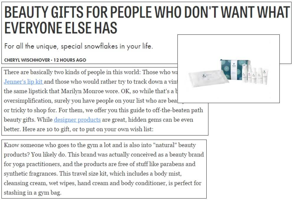 Natural Beauty Gifts Article