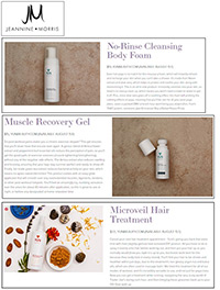 No Rinse Cleansing Body Foam, Muscle Revocery Gel, and Microveil Hair tratment article