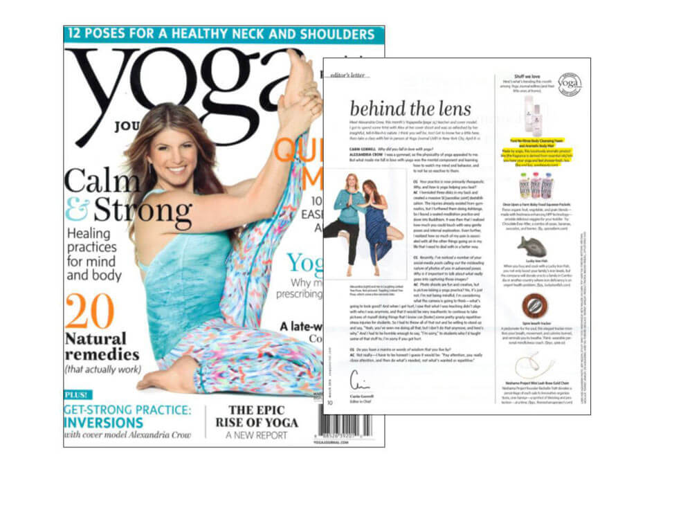 Yoga Journal cover and article